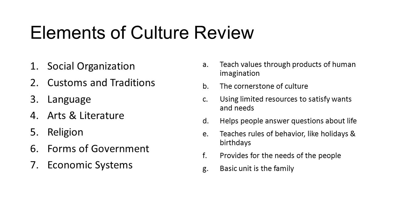 Elements of Culture Review