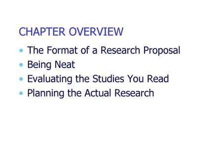 Writing Chapter 3 of the Proposal: The Research Method - ppt