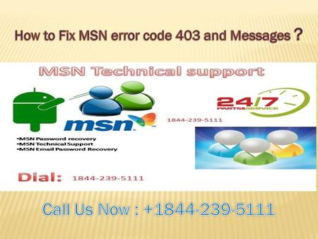 How to Fix MSN error code 403 and Messages ?