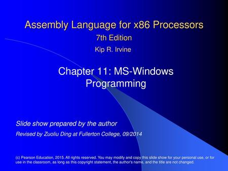 Assembly Language for x86 Processors 6th Edition Chapter 11: MS