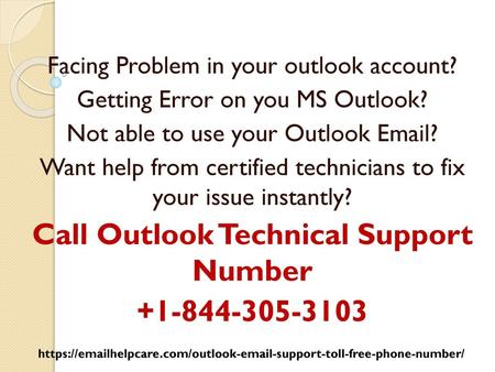 Call Outlook Technical Support Number