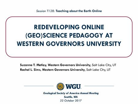 Competency-Based Geosciences Teacher Education at Western Governors
