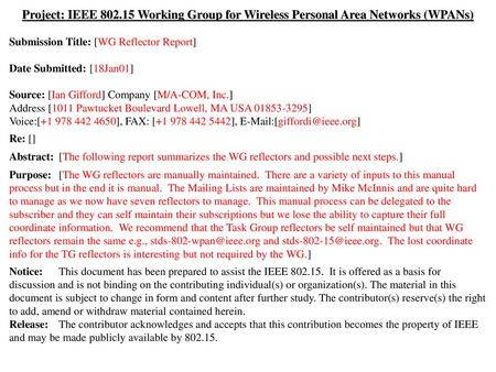 Doc.: IEEE 802.15-01/056r0 January 2001 Project: IEEE 802.15 Working Group for Wireless Personal Area Networks (WPANs) Submission Title: [WG Reflector.
