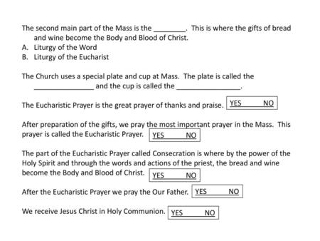 The Parts of the Mass Four Parts of the Mass The Introductory Rite