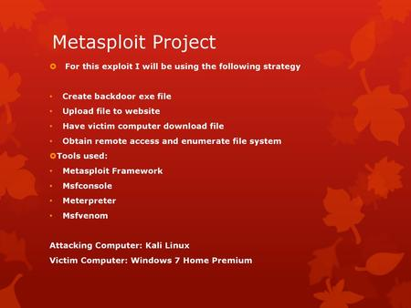 Module 22 (Metasploit Introduction) - ppt download