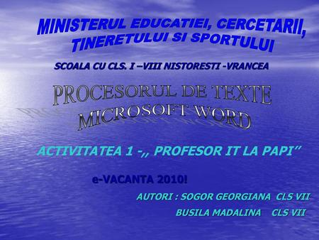 ACTIVITATEA 1 -,, PROFESOR IT LA PAPI''