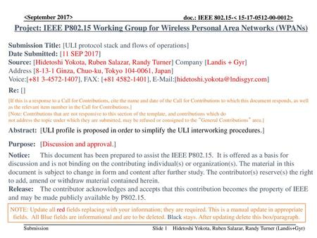 Project: IEEE P802.15 Working Group for Wireless Personal Area Networks (WPANs) Submission Title: [ULI protocol stack and flows of operations]