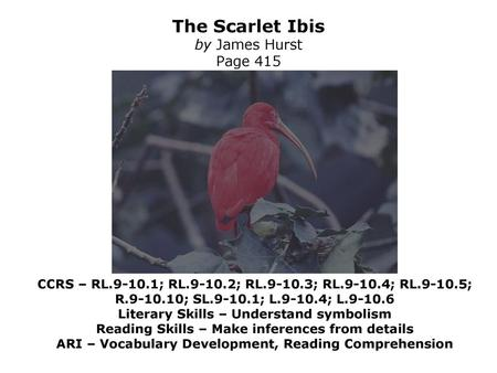 The Scarlet Ibis by James Hurst - ppt download
