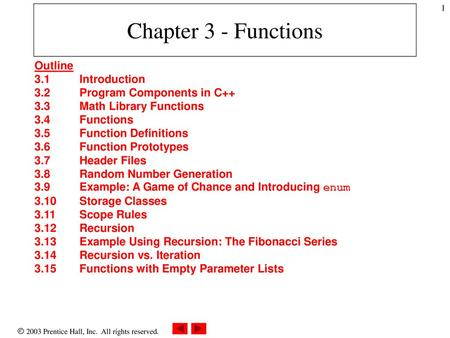 Chapter 3 - Functions Outline 3 1 Introduction - ppt download