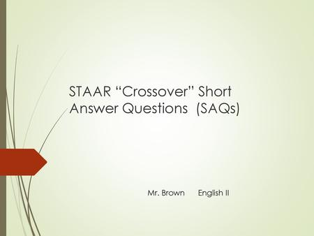 Writing the Crossover SAR for English 1 - ppt video online download