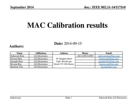MAC Calibration results