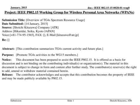 January, 2015 Project: IEEE P802.15 Working Group for Wireless Personal Area Networks (WPANs) Submission Title: [Overview of TG4s Spectrum Resource Usage]