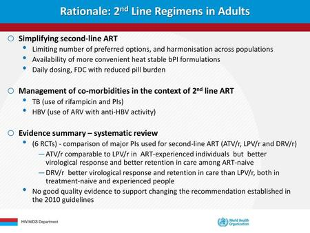 Rationale: 2nd Line Regimens in Adults - ppt download