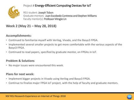 Project # Energy-Efficient Computing Devices for IoT REU