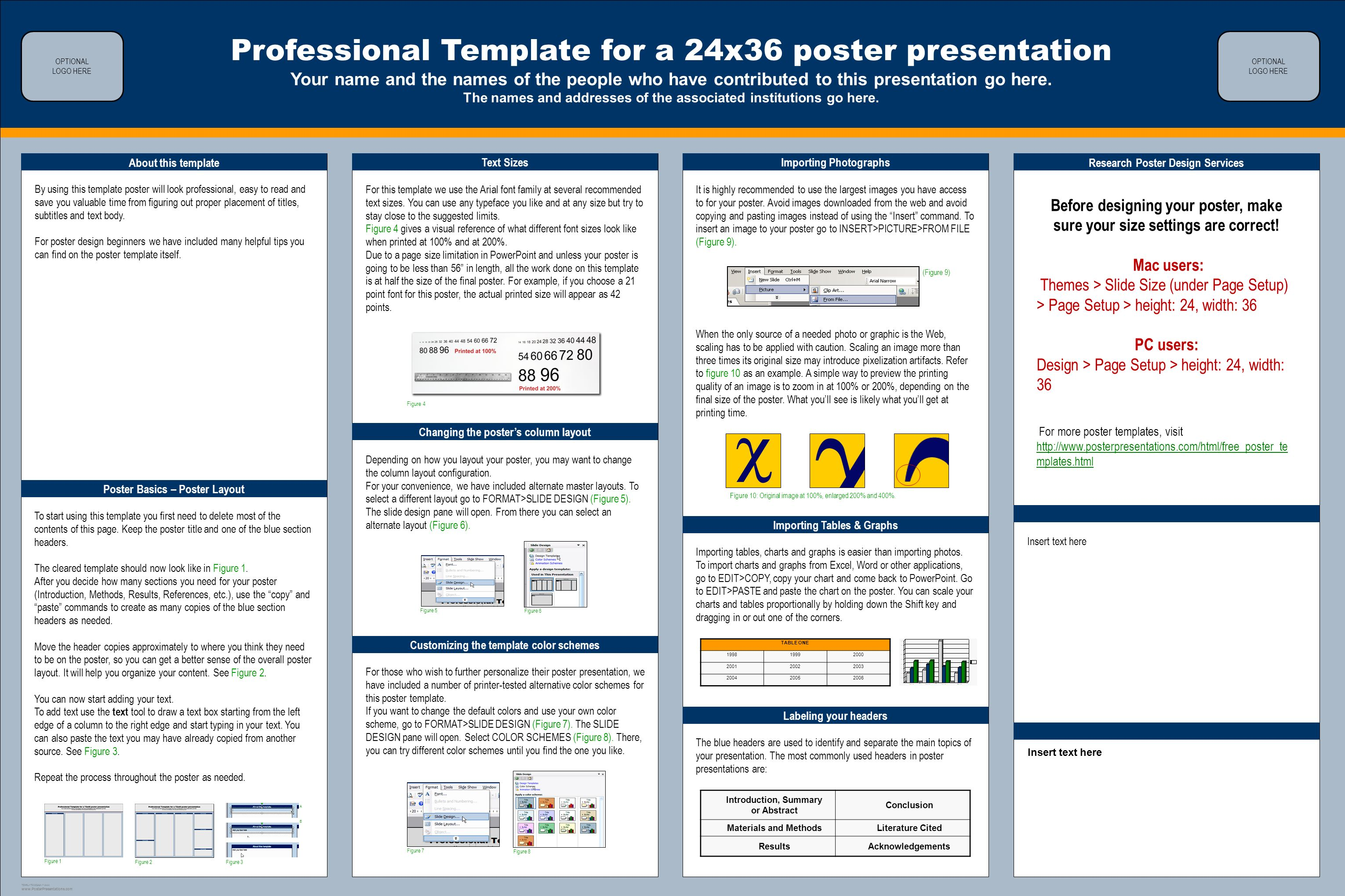 Template Design C Professional Template For A 24x36 Poster Presentation Your Name And The Names Of The People Who Have Ppt Download