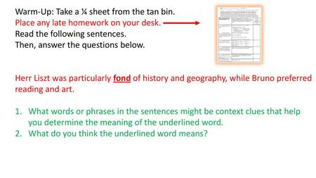 Warm-Up: Take a ¼ sheet from the tan bin  - ppt download