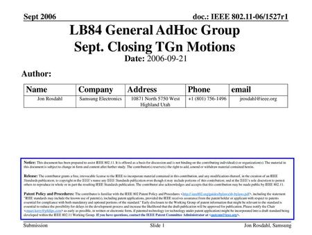 LB84 General AdHoc Group Sept. Closing TGn Motions