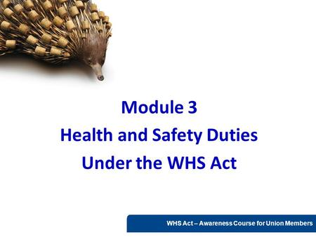 WHS Act – Awareness Course for Union Members Module 3 Health and Safety Duties Under the WHS Act.