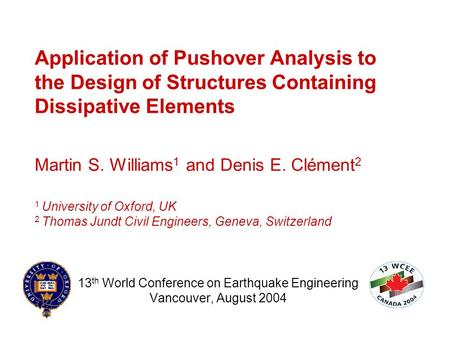 13th World Conference on Earthquake Engineering Vancouver, August 2004
