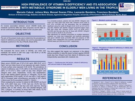 SUN−336 HIGH PREVALENCE OF VITAMIN D DEFFICIENCY AND ITS ASSOCIATION WITH METABOLIC SYNDROME IN ELDERLY MEN LIVING IN THE TROPICS INTRODUCTION An inverse.