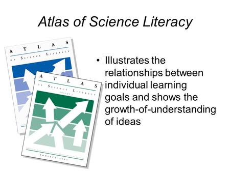 Atlas of Science Literacy Illustrates the relationships between individual learning goals and shows the growth-of-understanding of ideas.