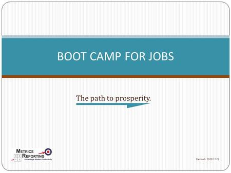 The path to prosperity. BOOT CAMP FOR JOBS Revised: 2008.12.23.