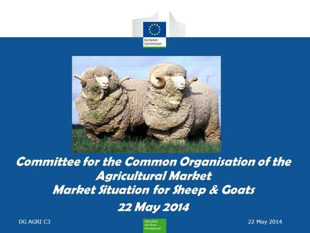 Committee for the Common Organisation of the Agricultural Market Market Situation for Sheep & Goats 22 May 2014 DG AGRI C3 22 May 2014.