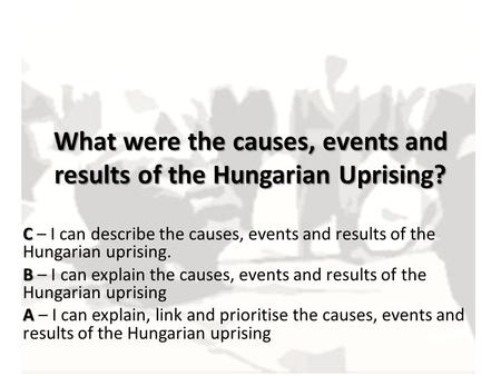 What were the causes, events and results of the Hungarian Uprising?