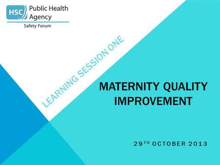 LEARNING SESSION ONE 29 TH OCTOBER 2013 MATERNITY QUALITY IMPROVEMENT.