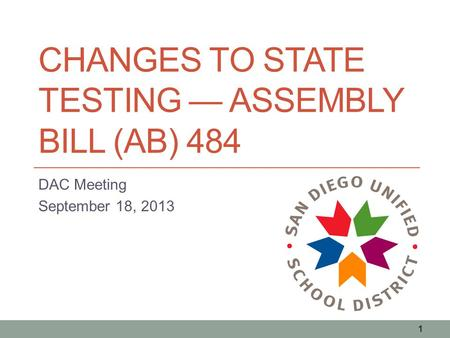 CHANGES TO STATE TESTING — ASSEMBLY BILL (AB) 484 DAC Meeting September 18, 2013 1.