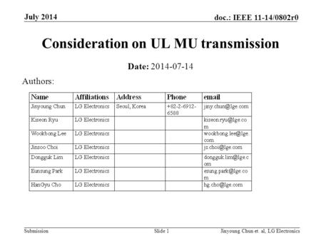 Submission doc.: IEEE 11-14/0802r0 Consideration on UL MU transmission Date: 2014-07-14 Slide 1Jinyoung Chun et. al, LG Electronics July 2014 Authors: