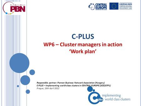 C-PLUS WP6 – Cluster managers in action 'Work plan' Responsible partner: Pannon Business Network Association (Hungary) C-PLUS – Implementing world-class.
