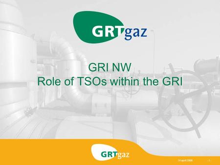 14 april 2008- 1 - GRI NW Role of TSOs within the GRI.