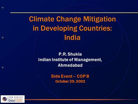 ++++++++++++++ ++++++++++++++ Climate Change Mitigation in Developing Countries: India P.R. Shukla Indian Institute of Management, Ahmedabad Side Event.