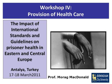 Workshop IV: Provision of Health Care The Impact of International Standards and Guidelines on prisoner health in Eastern and Central Europe Antalya, Turkey.