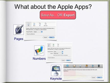 .txt What about the Apple Apps? Save As... OR Export Pages Numbers Keynote.