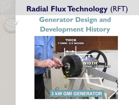 Radial Flux Technology (RFT) Generator Design and Development History 3 kW GMI GENERATOR.