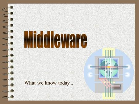 What we know today.... January 8, 2001Computing Services2  Review of Application Components  Review of Middleware Categories  Capabilities  Recommendation.
