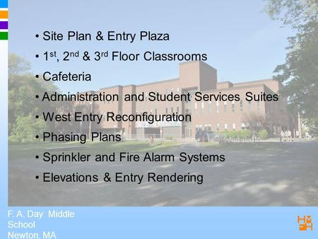 F. A. Day Middle School Newton, MA Site Plan & Entry Plaza 1 st, 2 nd & 3 rd Floor Classrooms Cafeteria Administration and Student Services Suites West.