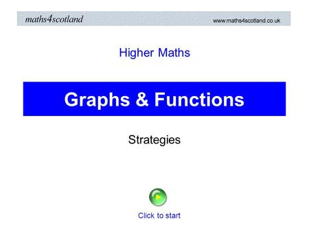 Higher Maths Graphs & Functions Strategies Click to start.
