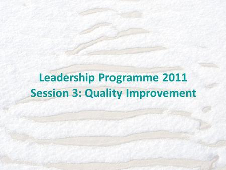 Leadership Programme 2011 Session 3: Quality Improvement.