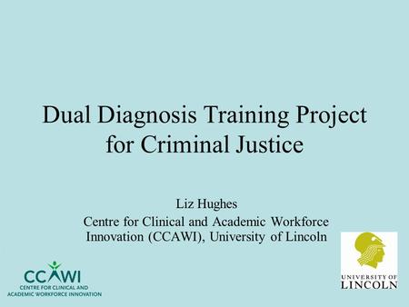 Dual Diagnosis Training Project for Criminal Justice Liz Hughes Centre for Clinical and Academic Workforce Innovation (CCAWI), University of Lincoln.