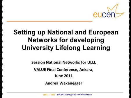 1991 | 2011 EUCEN: Twenty years committed to LLL Setting up National and European Networks for developing University Lifelong Learning Session National.