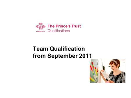 Team Qualification from September 2011 Subtitle. Agenda  New qualification  Title, credit value, units  Awarding Organisation  Procedures and processes.