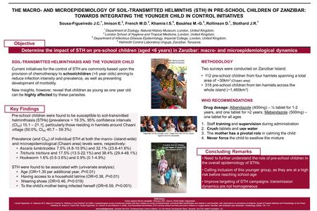 THE MACRO- AND MICROEPIDEMIOLOGY OF SOIL-TRANSMITTED HELMINTHS (STH) IN PRE-SCHOOL CHILDREN OF ZANZIBAR: TOWARDS INTEGRATING THE YOUNGER CHILD IN CONTROL.
