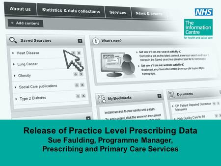 Release of Practice Level Prescribing Data Sue Faulding, Programme Manager, Prescribing and Primary Care Services.