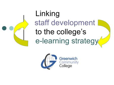 Linking staff development to the college's e-learning strategy.