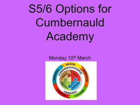S5/6 Options for Cumbernauld Academy