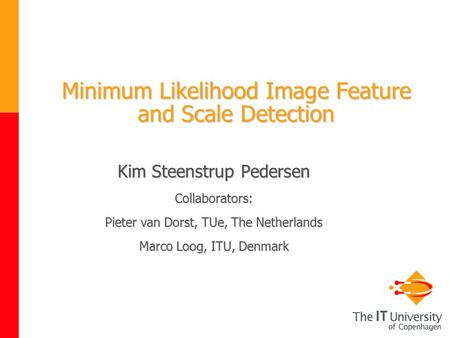 Minimum Likelihood Image Feature and Scale Detection Kim Steenstrup Pedersen Collaborators: Pieter van Dorst, TUe, The Netherlands Marco Loog, ITU, Denmark.