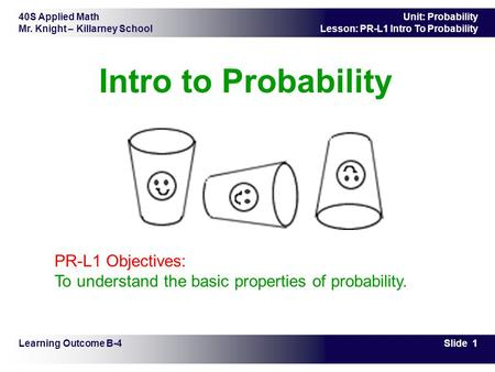 40S Applied Math Mr. Knight – Killarney School Slide 1 Unit: Probability Lesson: PR-L1 Intro To Probability Intro to Probability Learning Outcome B-4 PR-L1.